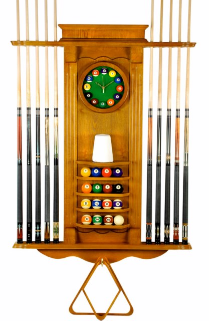 Cue Rack Only - 10 Pool - Billiard Stick & Balll Wall Stand W/ Clock Oak Finish